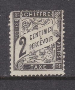 FRANCE, POSTAGE DUE, 1882 2c. Black, mint no gum., corner perf. short.