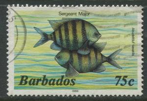 Barbados -Scott 654c -  Marine Life Issue - 1986 - FU - Single 75c Stamps