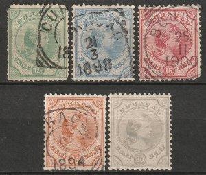Netherlands Antilles 1892 Sc 19-23 set mostly used