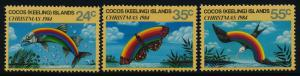 Cocos Islands 122-4 MNH Christmas, Fish, Butterfly, Bird