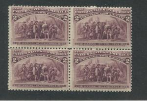 1893 US Stamp #231 2c Mint Never Hinged F/VF Block of 4 Catalogue Value $160