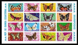 Eq. Guinea Butterflies Sheetlet of 16v Imperf RARR