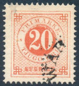 Sweden Scott 33/Facit 33e, 20ö orange-red Ringtyp p.13, F-VF fresh Used