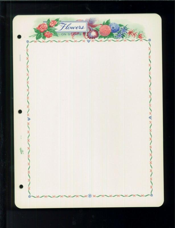 White Ace Historical Stamp Album Pages Flowers Topical Blank Pages Pack of 12