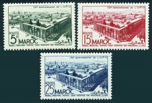 Fr Morocco 256-258,hinged.Michel 293-295. UPU-75,1949.Postal Building,Meknes.
