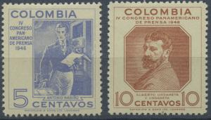 Colombia 1947 MLH Set - 552-553 | 4th Pan-American Press Congress