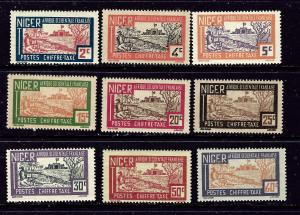 Niger J9-18 MH 1927 partial set of postage dues