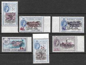 Doyle's_Stamps: MNH Scott #251** to #256** Sierra Leone Ovpt'd Postage Stamp Set