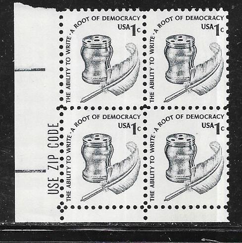 US#1581 1c  - Inkwell- ZIP block of 4 CV $0.30