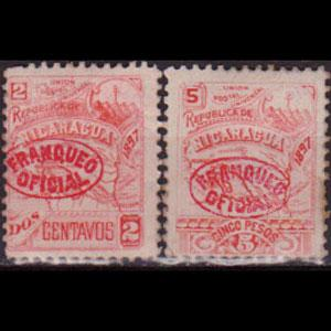 NICARAGUA 1896 - Scott# O83-4 Map 2-5c LH