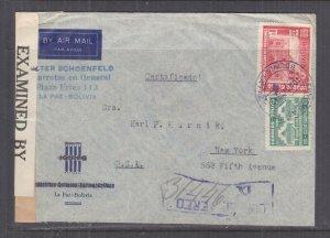 BOLIVIA, 1942 Reg. Airmail Censored cover, La Paz to USA, 15c., 60c., .5b.(3)