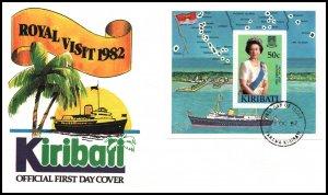 Kiribati 417 Royal Visit Souvenir Sheet U/A FDC