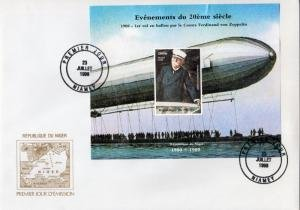 Niger 1998 EVENTS FERDINAND ZEPPELIN BALLOON s/s Imperforated Official F.D.C.