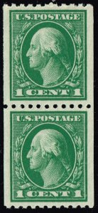 US STAMP #441 1c 1914 Coil STAMP MNH/OG PAIR SUPERB #2