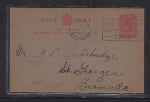 BERMUDA PSC  (P1108B)  1959  1D SLOGAN COME TO BERMUDA  CORALSTONE SHIPPING