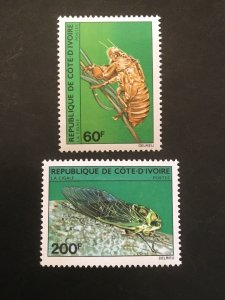 Ivory Coast 565-566 F-VF Mint Hinged, Scott $ 10.00