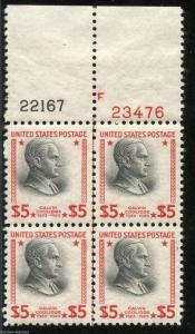 UNITED STATES $5 PRESIDENT SCOTT#834 PLATE BLOCK II OF FOUR MINT NH ORIGINAL GUM
