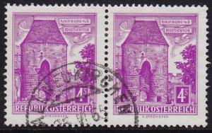 Austria - 1960 - Scott #627 - used pair - Hainburg