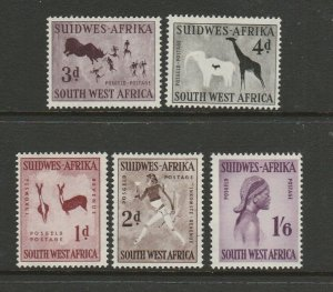 South West Africa 1960 Defs, Wmk 102, MM SG 166/70 Less 169a