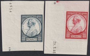 Sc# 196 / 197 Monaco 1946 Prince Louis II 50fr and 100fr imperf issues