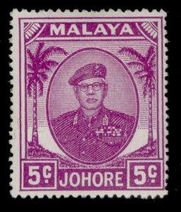 MALAYSIA - Johore GVI SG136a, 5c bright purple, M MINT.