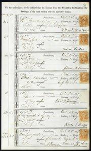 1867 Bank ledger page with R6c revenue stamps handstamp cancels L9