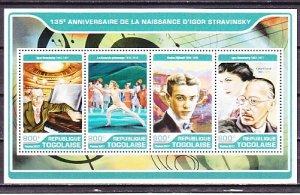 Togo, 2017 issue. Composer Igor Stravinsky sheet of 4. ^