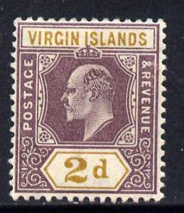 British Virgin Islands 1904 KE7 MCA 2d purple & ochre...
