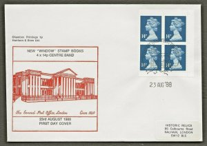 23/8/1988 56p NEW VALUE WINDOW BOOKLET FDC-HISTORIC RELIC