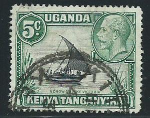 Kenya Uganda & Tanganyika SG 111 Used rope joined to sail