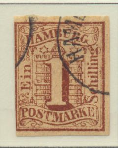 Hamburg (German State) Stamp Scott #2, Used - Free U.S. Shipping, Free Worldw...