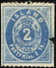 Iceland SC# 1 Numeric 2o FAULTED and thin  SEE SCAN scv $ 1050.00.  mint nogum