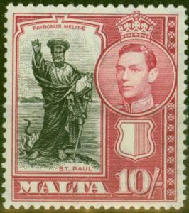 Malta 1938 10s Black & Carmine SG231 V.F MNH