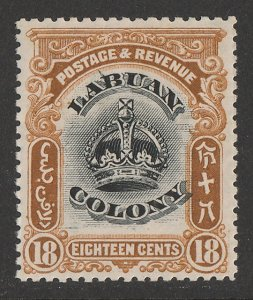 LABUAN : 1902 Crown 18c black & brown, variety 'line through B'.