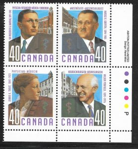 Canada 1302-1305: 40c Canadian Doctors, plate block, MNH, VF
