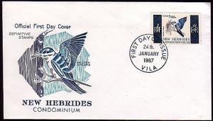 NEW HEBRIDES (Br) 1967 5f Bird commem FDC Vila cds ............36517