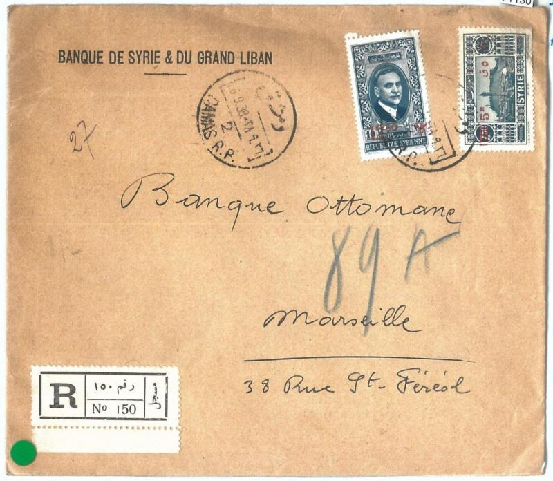 71130 - SYRIA - POSTAL HISTORY -   REGISTERED COVER  to FRANCE  1938