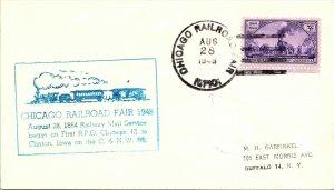 1948 Chicago Railroad Fair R.P.O. Railway Post Office + Cachet #164