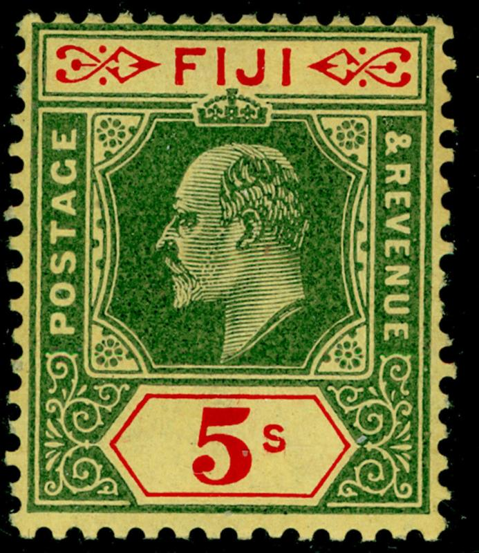 FIJI SG123, 5s green & red/yellow, LH MINT. Cat £70.