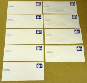 U074, 22c U.S. Postage Envelopes Watermark Set qty 9