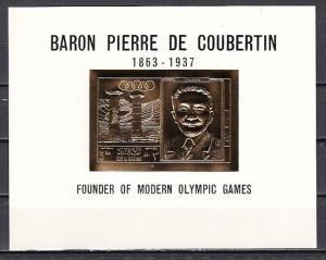 Ras Al Khaima, Mi cat. 296 C. Coubertin Olympic Gold Foil s/sheet. ^