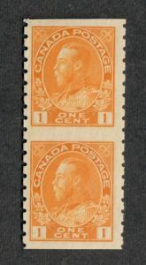 Canada Sc#126a, M/H/VF, Pair Imperf. Horiz., Cv. $40