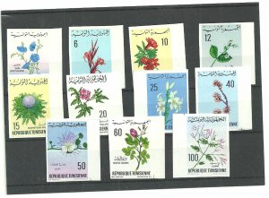 1968-1969 - Tunisia-Imperforated stamps- Timbres non perforés- Flowers- Fleurs