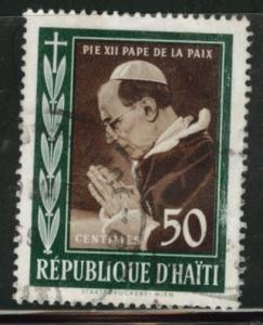 HAITI Scott 445 used 1959 Pope Pius XII stamp