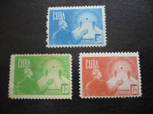 Stamps - Cuba - Scott# 384-386 - Mint Hinged Set of 3 Stamps