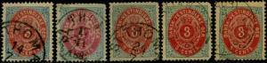 DANISH WEST INDIES #6, 6a, c, e (2) F // XF USED CV $127 BQ730