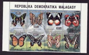 Malagasy-Sc#1104-unused NH block of 8-Butterflies-Insects