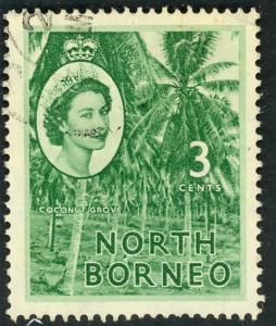 NORTH BORNEO 1954-57 QE2 3c COCONUT GROVE Pictorial Sc 263 VFU