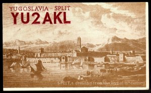 QSL Radio Card Yugoslavia-Split,Drawing From The End of 18th Century, (Q3382)