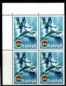 GHANA SG393 1965 24p on 2/= NEW CURRENCY SURCHARGE MNH BLOCK OF 4